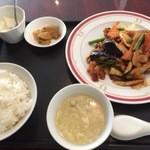 zanikugyouzashisenshuubou - 豚肉とナスの黒酢辛味炒め 750円