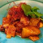 いわい - 茄子とベーコンのピリカラ炒め