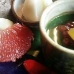 窯元カフェ はづき - はずきセット 780円 フルーツとカップデザート