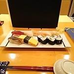 なでしこ寿司 - ランチ握りセット・全体(2015.09.16)