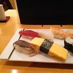 なでしこ寿司 - ランチ握りセット・拡大左半分(2015.09.16)
