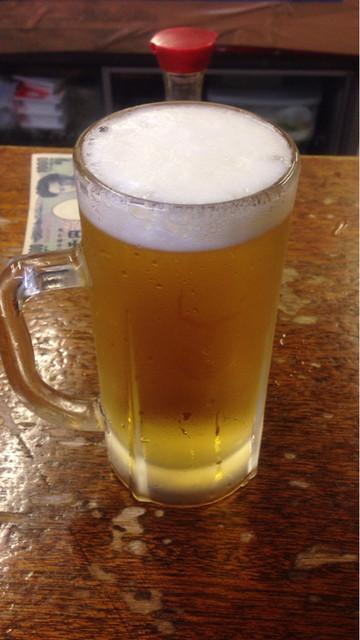富士屋本店 - 生ビール(サッポロ黒ラベル) 450円