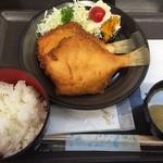 菊一商店 - 2015.09かれい定食(500円)