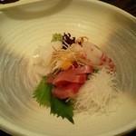 京料理 八平 - 明石の鯛、カツオ、剣先イカ