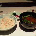 4201918 - 梅チリメンご飯と蜆赤だし汁