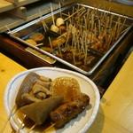 駄菓子屋笑話 - 料理写真:どれでも1本70円だし粉、青のり、味噌だれ、カラシで自分好みの味で。