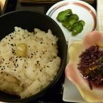ホテルイン - 栗ご飯におしんこ、もって菊柚香浸し