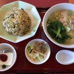 清龍苑 - 蒸鶏麺と高菜チャーハンセット 850円