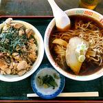 早磯 - 料理写真:焼き肉丼ぶり☆ラーメンセット(2015年9月)