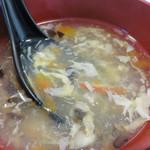 42059488 - 汁なし麺なので、セットの中華とろみスープにホッとします。