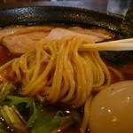 麺堂かのん - 細麺アップ味玉トッピングH27.9