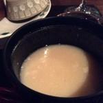 """塩尻醸造所(仮) - メモを忘れたのですが、""""すしの歴史""""に添えらている味噌仕立て椀。"""