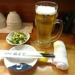餃子や - お通し、生ビール:250円