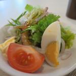 大膳 - ゆで卵、トマト、水菜、赤タマネギ、レタス、胡瓜、青ねぎのサラダ