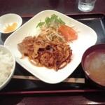 グリーンゲイブルス - 豚しょうが焼き定食 780円(税込)(2015年9月4日撮影)