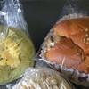 パン職人いっぴ - 料理写真:左はほうれん草のパン。ほうれん草の良い香りがします。ジューシーなベーコンが入っており、表面には卵サラダが。 右はきんぴらごぼうのパン。程よい味付けの甘辛きんぴらごぼうがふかふかのパンとよく合います。