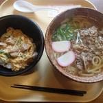 """オレンヂ - """"どっさり""""肉うどん&ミニ親子丼"""
