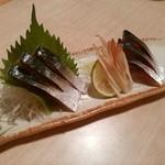 海鮮料理魚春とと屋 - しめ鯖 こちらのお店のしめ鯖は、塩でしめています。とても美味しいです。