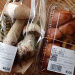 道の駅 ニセコビュープラザ - 購入した茸2点;天然ポルチーニ(ヤマドリタケモドキ)と落葉茸(ハナイグチ) @2015/09/21