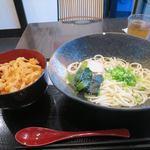 味囲楽 - 五島かけうどん(冷)+海鮮かき揚げ丼_2015/09