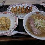 餃子の王将 - ラーメンセット(餃子+半チャーハン+塩牛骨ラーメン)