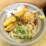 グルめん - 冷やしおろしえび天きしめん(¥720)+玉子トッピング(¥50)