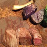 鉄板焼 備彩 - 紫芋など旬の野菜とロース