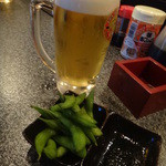 カドBAR standing - 生ビールと枝豆