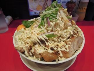 用心棒 - 【再訪】冷やしまぜそば大盛り(野菜,ニンニク,ガリマヨ)+追加豚2枚