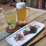 沖縄そば専門店 和 - 「オリオン生ビール (500円)」と「シークヮーサージュース (250円)」で乾杯♪