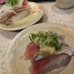 せんや - かつおたたき、北海道秋刀魚。各165円