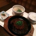 居酒屋 楽園 柳川 - ハンバーグ&白飯&味噌汁&冷奴