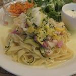 42199319 - パスタ・ランチ:野菜とベーコンのレモンクリーム・ソースのパスタ、キャロット・ラペ、グリーン・サラダ、玉ねぎと牛乳のスープ2