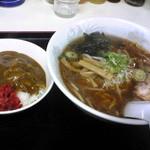 明月食堂 - ラーメン(正油ラーメン)・カレーセット