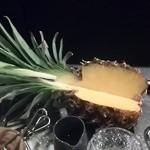 緑蔭洞 - 注文してから生パインをカットしてくれたパインジュース