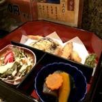 鮨豊 - 一の重(天ぷら、炊き合わせ、サラダ)
