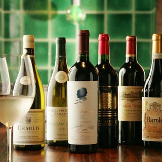 肩肘はらずに楽しめる種類豊富なワインの数々