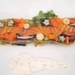 42280288 - 季節野菜とマリネしたサーモンのテリーヌ サワークリームのクレマ