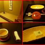 42280311 - 内観 先ずは梅酒の食前酒、自家製ゴマ豆腐(青柚子風味)