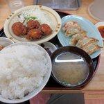 母里屋 - よくばり定食(ご飯大盛り)2015.09.25