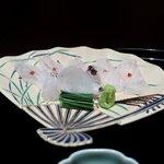 京都 吉兆 - お造:和歌山産くえ、エンガワ、胃袋