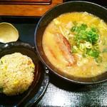 伝丸 - チャーハン&餃子定食[味噌ラーメン]