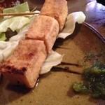 屯所 - 揚豆腐は柚子胡椒を溶かしたキャベツタレにも合います。