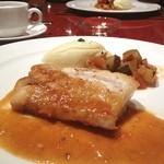 地中海料理 「アチェンド」 - メインのお魚料理です。ラタトゥイユとマッシュポテト添え。