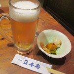 築地日本海 - 2015.9 生ビールとお通し