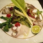 ポジティブアンバランス 歩路庵 - 山菜と旬の魚介のサラダ