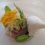 42322977 - シマアジのマリネ アーモンドクリーム 野菜のエスカベッチェ ディルの香り