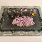 "Arzak - Fish of the day with ""patxaran"" and purple corn"