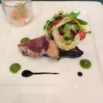 42329974 - 前菜。キスの天ぷらが美味しい。