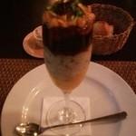 Les deux - ズワイ蟹と帆立のクープ オマール海老のコンソメジュレ うに添え